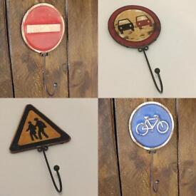 Road Sign Storage Hooks (Coats/Robes/Towels) Four Styles Available