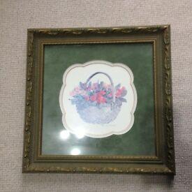 Manuscript Framed Flower Basket Picture