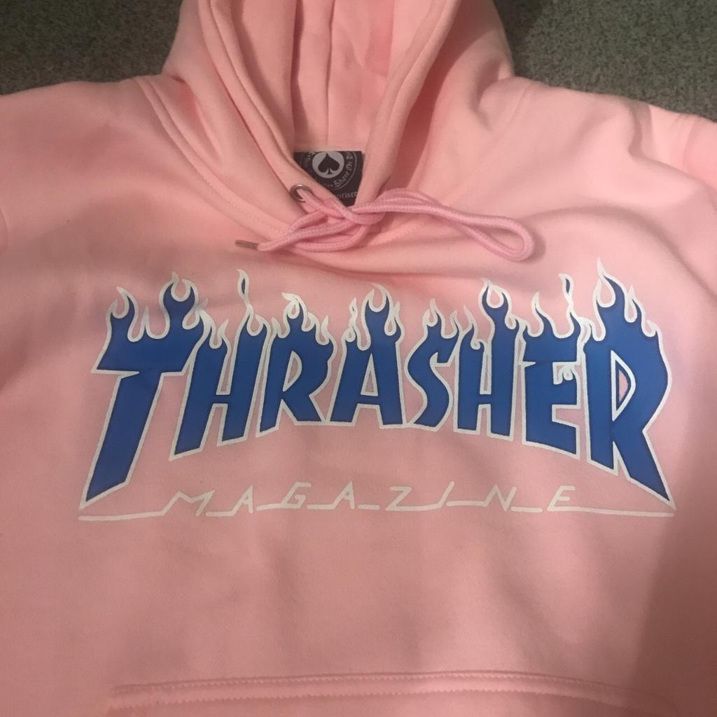 c0a12348dcf4 Baby Pink Thrasher Flame Hoodie