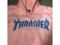 Baby Pink Thrasher Flame Hoodie