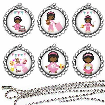 Set 6 Sleep Over Pizza Party Bottle Cap Necklaces Favors Goody Bags Prizes Gifts ()