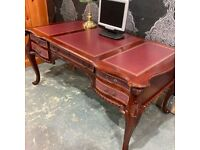 Stunning Chesterfield Louis Partners Desk with Leather Top - UK Delivery