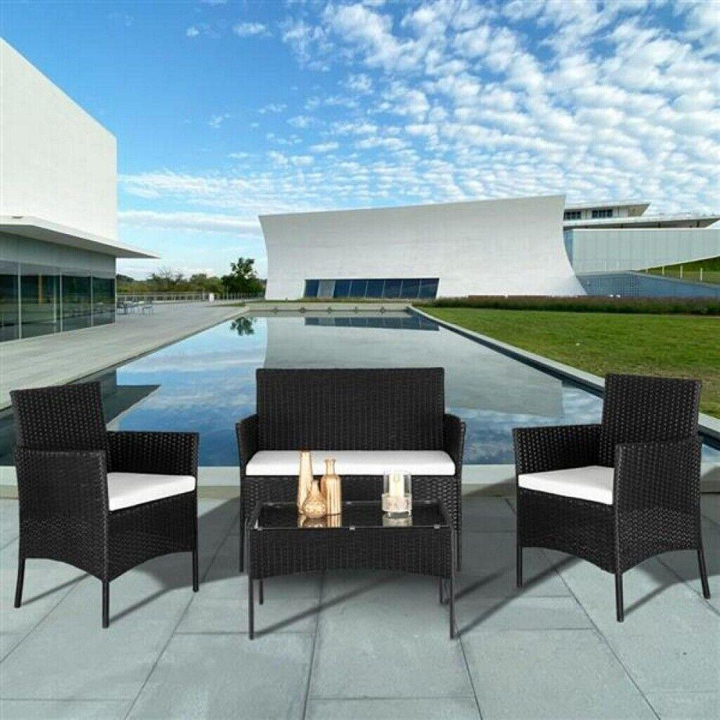 Garden Furniture - Rattan Garden Furniture Set 4 Piece Chairs Sofa Table Outdoor Patio Set UK