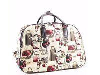 ladies FASHION HOLDALL TRAVEL WHEELED SUITCASE HANDLE WEEKEND LUGGAGE BAG Print
