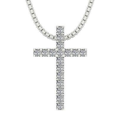 I1 G 1/2 Ct Natural Diamond Cross Pendant Necklace Prong Set White Gold 0.85Inch 1/2 Ct Diamond Circle Pendant