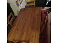 IKEA PINE TABLE AND 4 CHAIRS EXCELLENT CONDITION HARDLY USED LIKE NEW