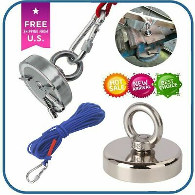 Hot 400lb Fishing Magnet Kit Strong Neodymium Pull Force Or Rope With Carabiner