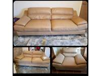 Quality Leather 3 piece suite sofas sofology 3+2+chair. Light brown beige. Bargain!