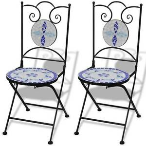 Mosaic Bistro Chair Blue / White Set of 2(SKU 41531) vidaXL Mount Kuring-gai Hornsby Area Preview