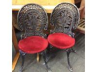 2 X heavy vintage cast iron garden chairs