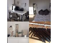 IKEA furniture and lighting, mirror, desk, hangers, chairs, stereo hi fi, cushions
