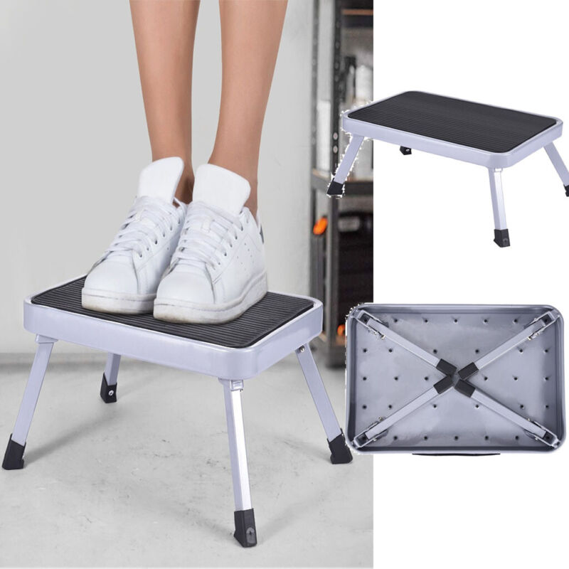 Folding RV Step Stool Aluminum Ladder Anti-Skid Platform Por