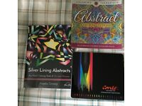 Therapeutic abstract colouring books and pencil set