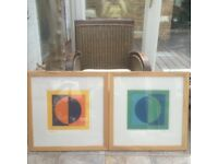 Pair of framed abstract prints Eclipse1&2 by Roy Speltz with signature in margin