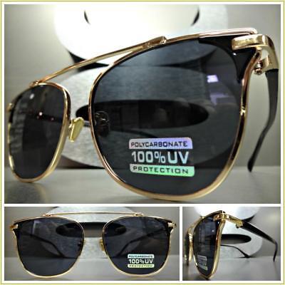 Männer oder Frauen Klassisch Retro Designer Stil Sonnenbrille Black & Gold