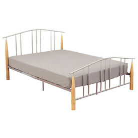 Elegant style, Double, metal bed, frame, with, wooden feet, thick, padded, Mattress, both.
