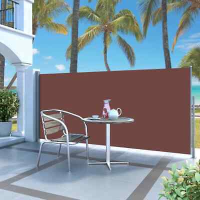 vidaXL Retractable Side Awning 120x300cm Brown Garden Privacy Screen Blind