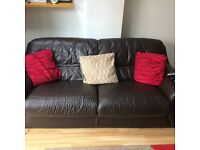 Three seater and two seater brown leather suite