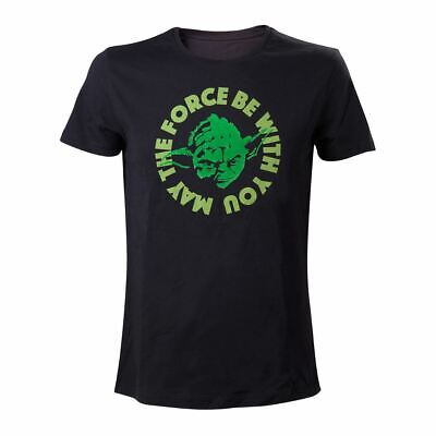 "Men's Star Wars Yoda ""May the Force Be with You"" Quoted Black T-shirt"