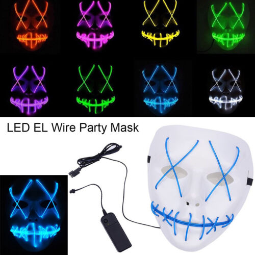 Halloween Scary Mask Cosplay Led Costume Mask EL Wire Light