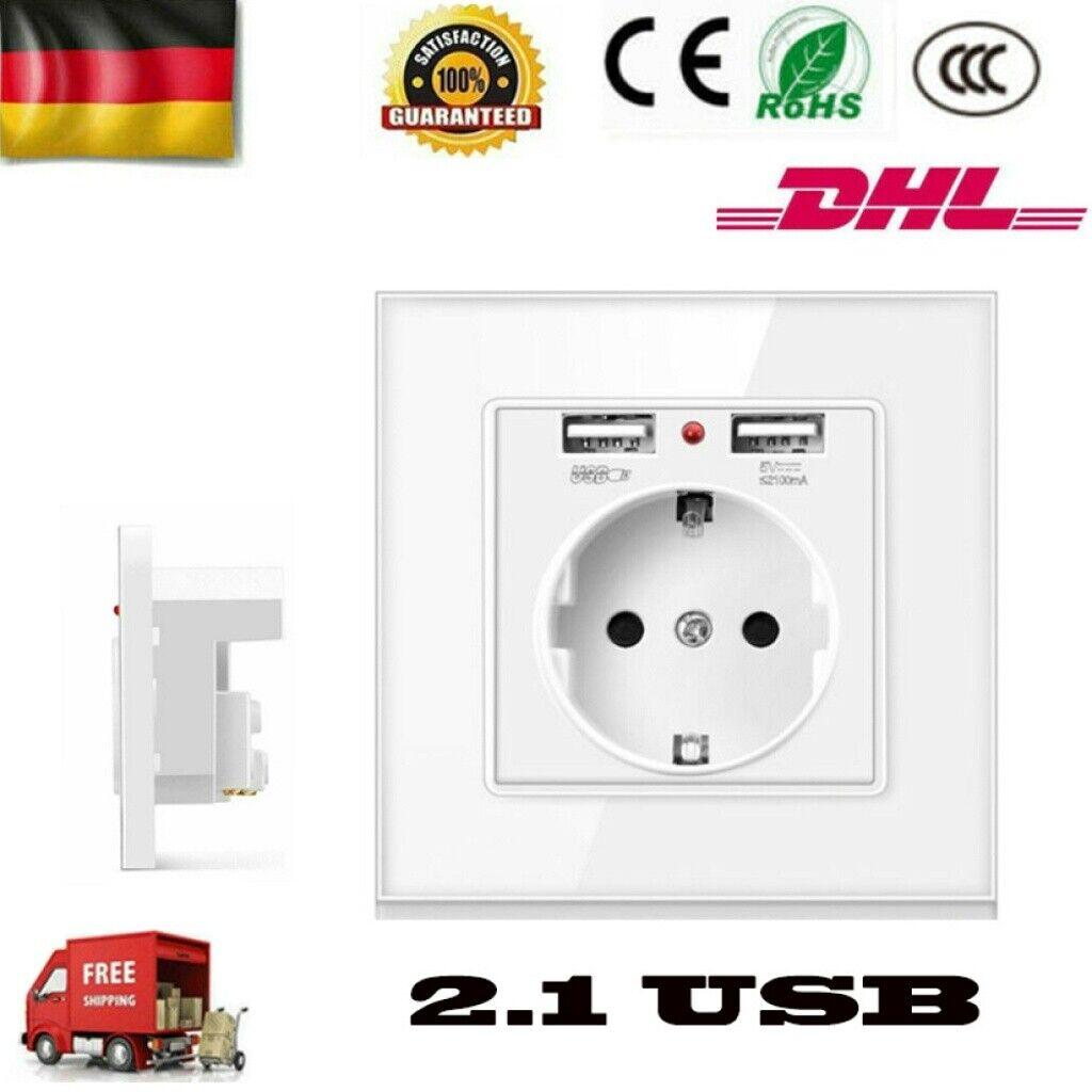 250V Wandsteckdose Unterputz SchuKo Steckdose mit 2 USB Ladeanschlüsse 2A Weiß