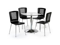 Glass and chrome dining table + 4 x chairs
