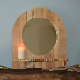 Quirky Little Handmade Rustic Mirror with Shelf.