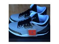 Nike Air Jordan 3 WOLFGREY Retro3 Black/Silver Cement3 Print RARE UK10 +FOOTLOCKER RECEIPT 100sales