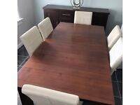 Walnut Effect Extendable Dining Table and 6 Cream Real Leather Chairs