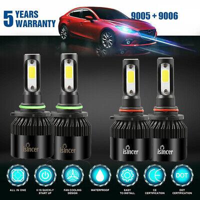Combo 9005 9006 LED Headlight for Chevy Silverado Tahoe 99-06 Hi/Lo Beam 3820W