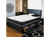 **Flex Memory Foam** New Double or King Divan Bed Base with Dual-Sided 13 inch Memory Foam Mattress