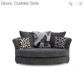 DFS 'Gloss' Cuddler / Snuggle Sofa in Charcoal Grey