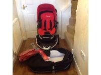 Icandy Apple Stroller & Carrycot with chilli accessories