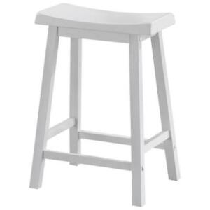 Traditional Counter Height Bar Stool - Set of 2 - White - Model #: I 1533