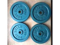 Barbell and weights.
