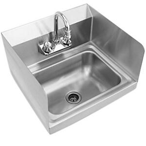Stainless Steel Hand Washing Sink NSF Commercial with Faucet And Side Splashes - BRAND NEW - FREE SHIPPING