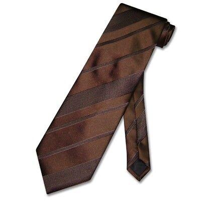 Brown Striped Woven Necktie - Vesuvio Napoli NeckTie BROWN Woven Striped Design Neck Tie for Tuxedo or Suit