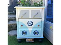 Blue Vintage Retro VW CamperVan Style Pine Chest of Drawers / Bedside Table FREE DELIVERY