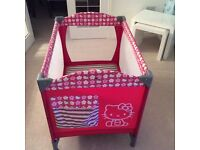 Hello Kitty Pink Travel Cot