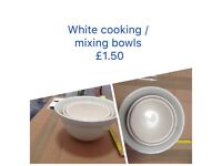 White cooking bowls