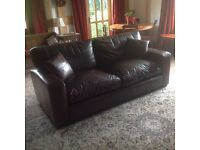 Superb quality 3 seater brown leather sofa