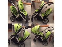 Oyster Max Tandem Pram in Lime Green, includes 2 rain covers, 2 oyster cosy toes.