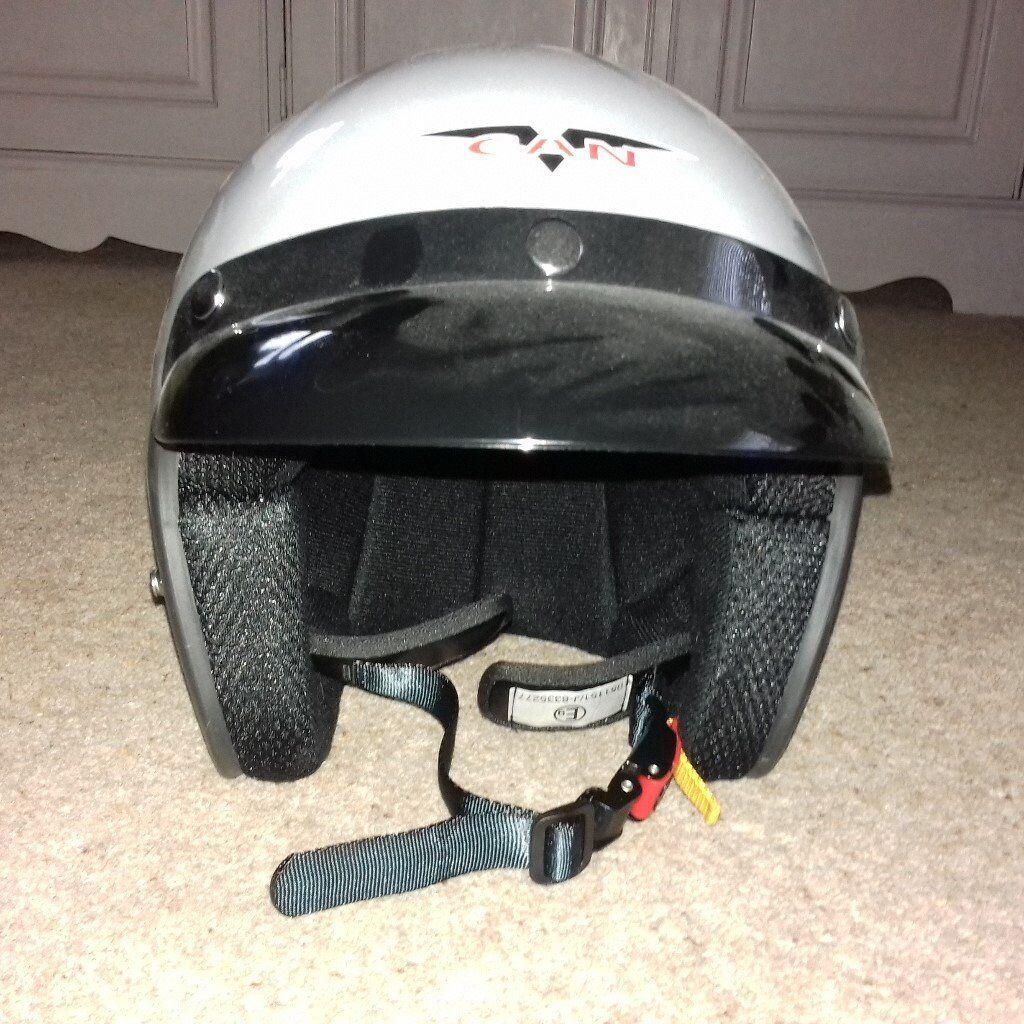 Crash Helmet V-CAN V500 Silver Open Face Motorcycle