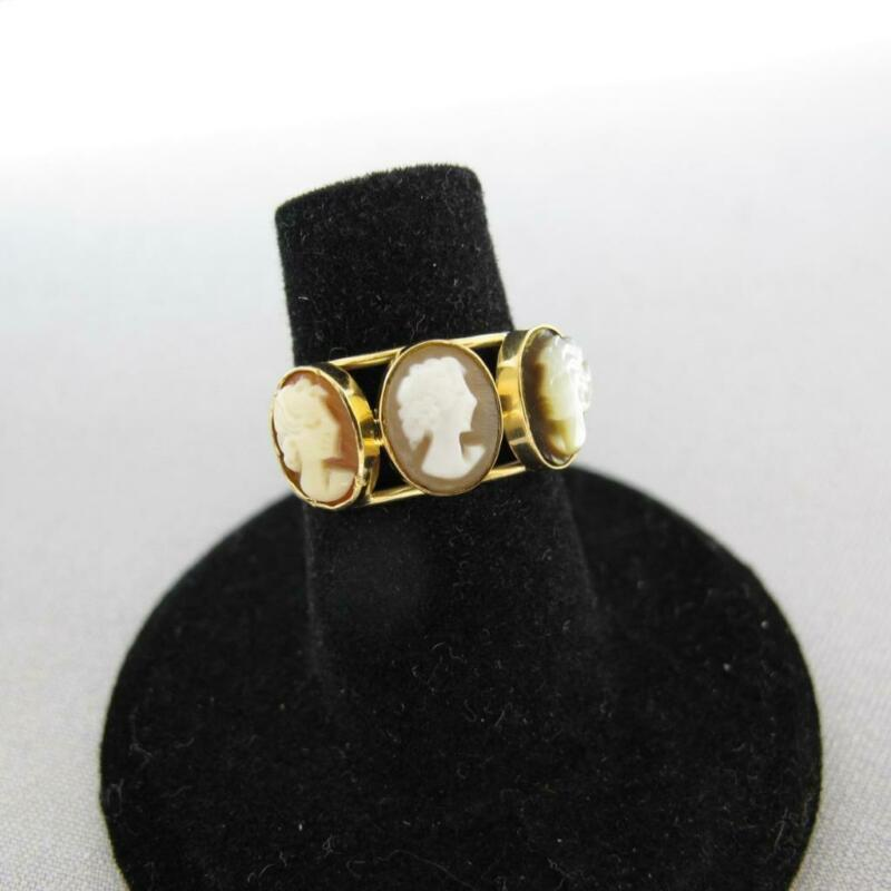 Vintage 18K Yellow Gold 3 Faces Cameo Carved Shell Ring SZ 5.75 2.2g #J606