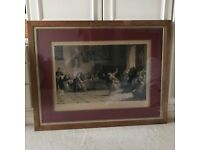 Victorian Print - A Question of Propriety before the Holy Inquisition. Good cond. Large, well-framed