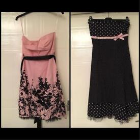 Jane Norman pink black lace polka dot dresses wedding party size 12 S/M