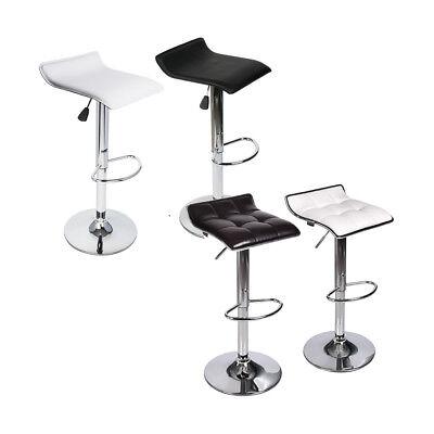 Set Of 2 Bar Stools PU Leather Adjustable Swivel Bistro Pub Dining Chair Kitchen