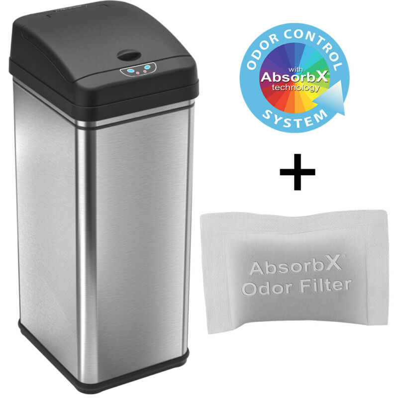 13-Gallon Reflix Technology Sensor Automatic Stainless-Steel Trash Can Kitchen