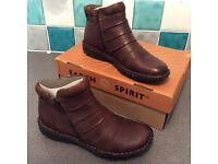 Earth Spirit Brand New size 5 Brown Leather Ankle Boots Zip fastening