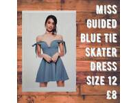 Miss Guided Blue Tie Skater Dress Size 12